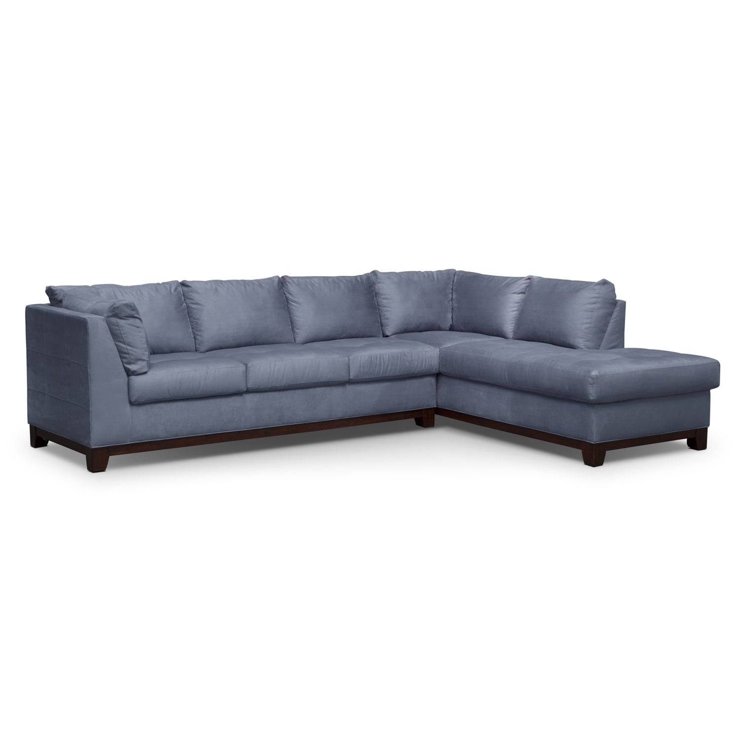 Soho 2 piece sectional with right facing chaise steel for Couch with 2 chaises