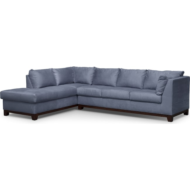Living Room Furniture - Soho 2-Piece Sectional with Left-Facing Chaise - Steel