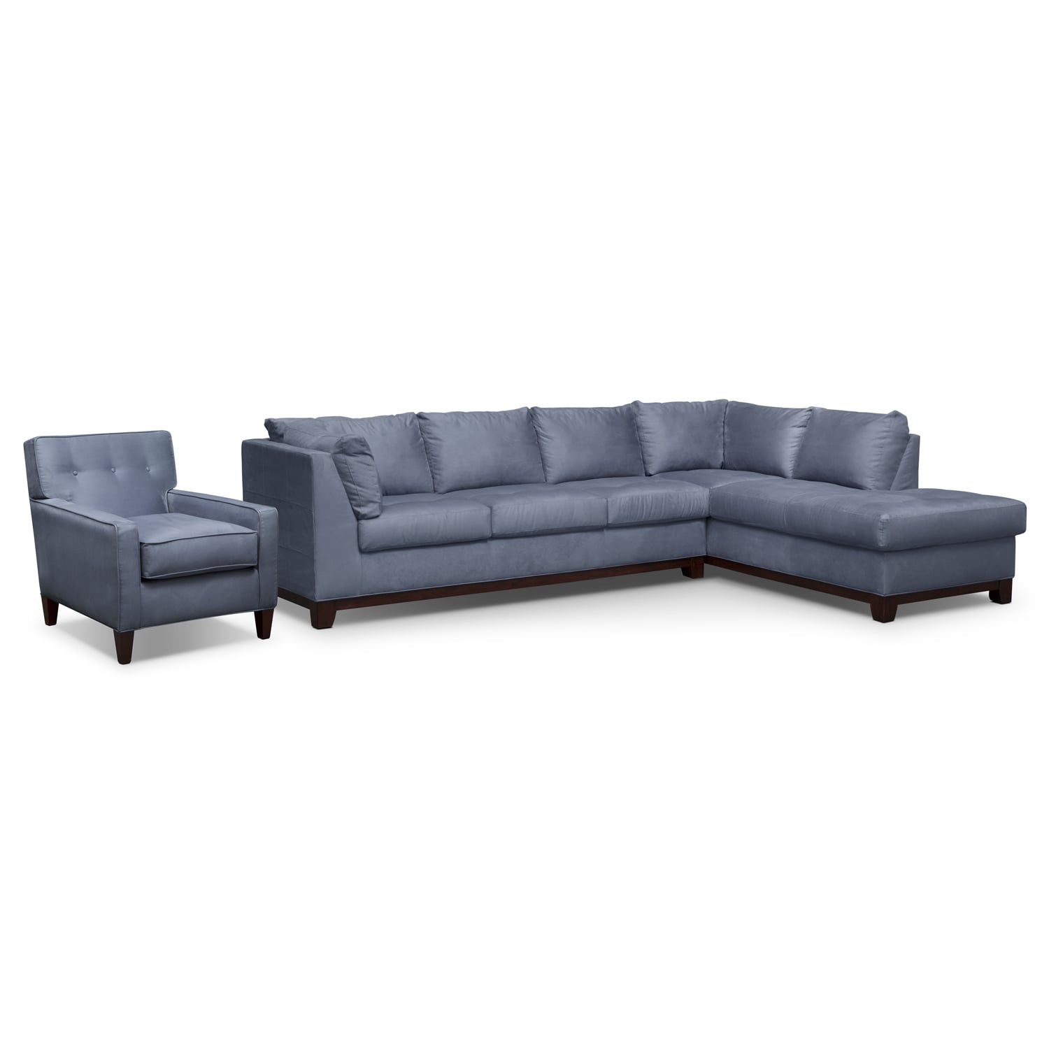 Soho 2 piece sectional with right facing chaise and chair for 2 piece sectionals with chaise