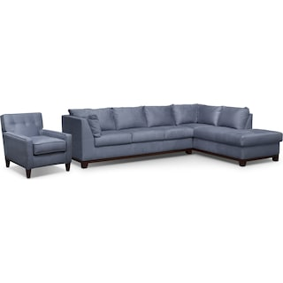 Soho 2-Piece Sectional with Right-Facing Chaise and Chair - Steel