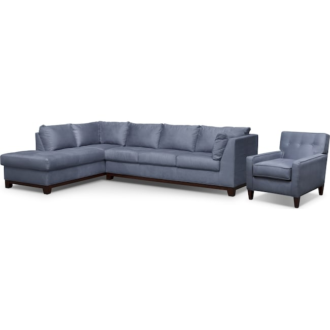 Living Room Furniture - Soho 2-Piece Sectional with Left-Facing Chaise and Chair - Steel