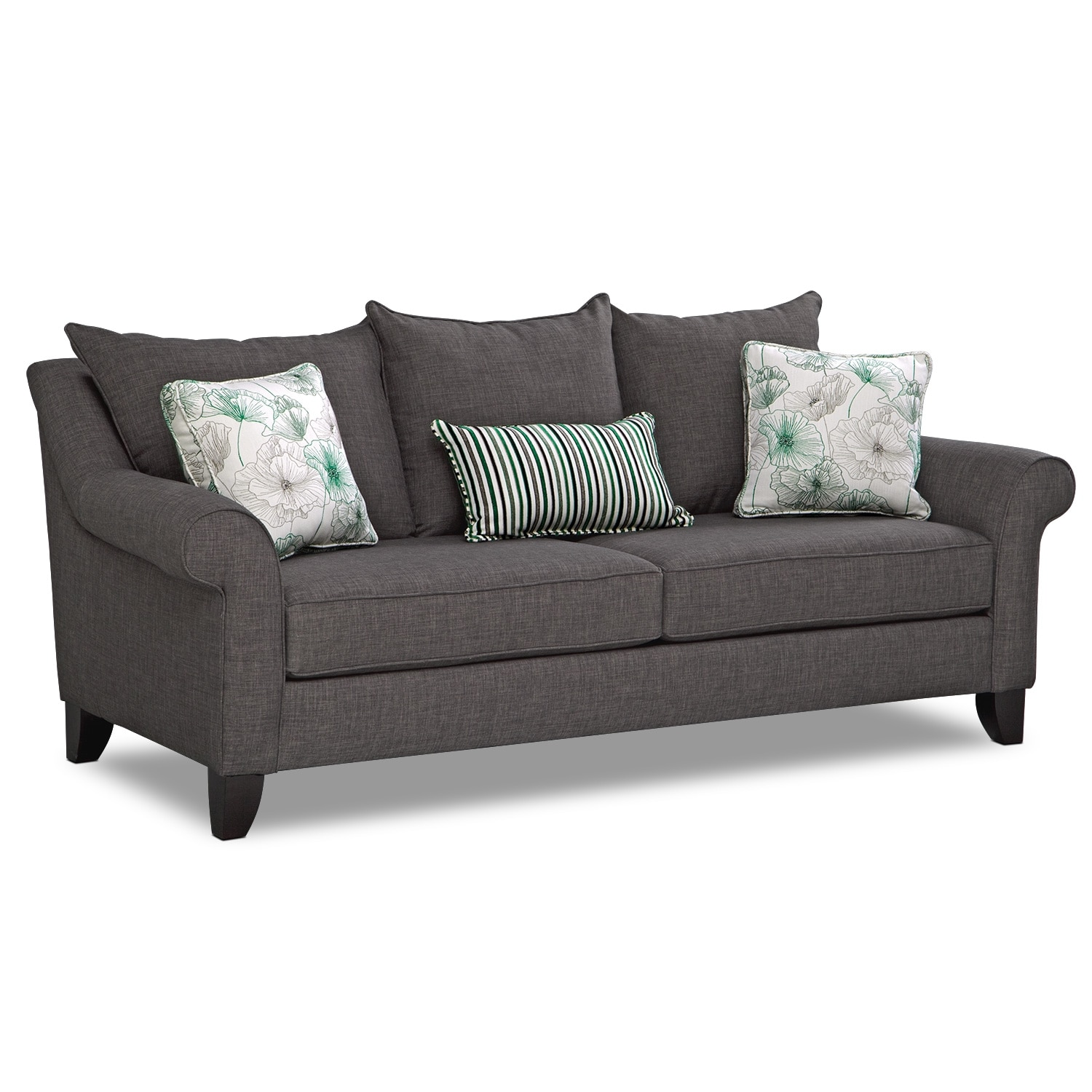 Living Room Furniture - Jasmine Sofa - Charcoal