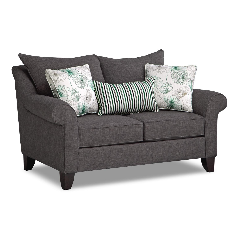 Living Room Furniture - Jasmine Loveseat - Charcoal