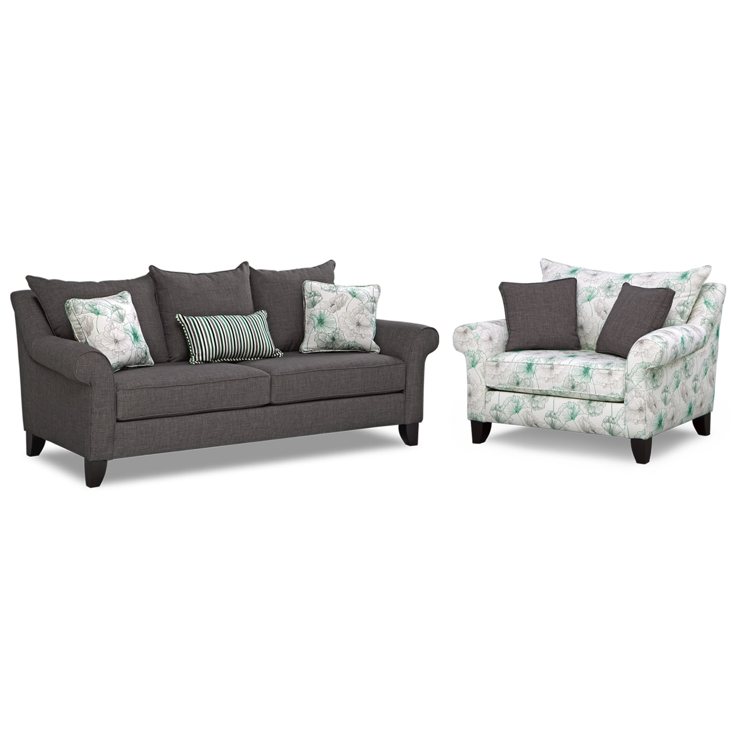 Living Room Furniture - Jasmine 2 Pc. Living Room w/ Chair and a Half