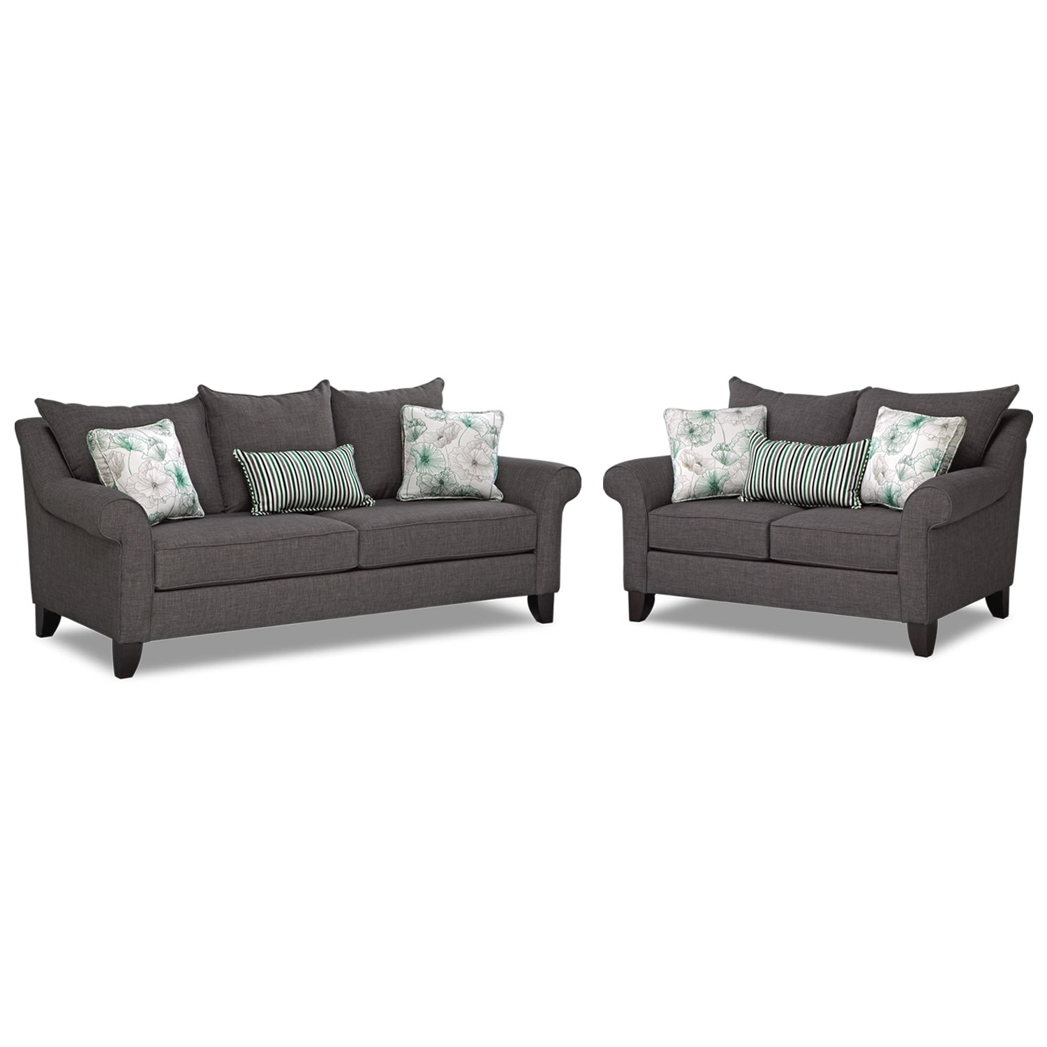 Living Room Furniture - Jasmine 2 Pc. Sleeper Living Room with Memory Foam Mattress - Charcoal