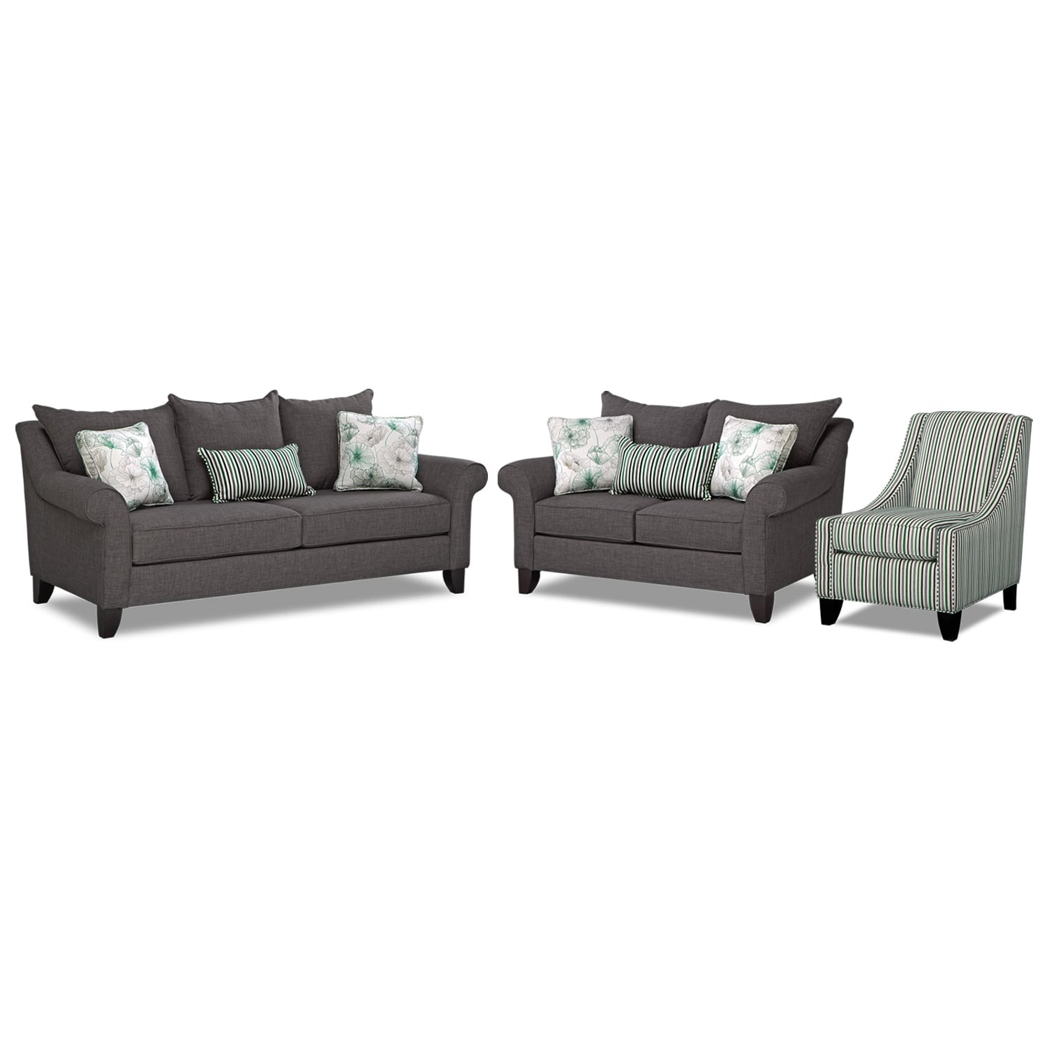 Living Room Furniture - Jasmine 3 Pc. Sleeper Living Room with Accent Chair and Memory Foam Mattress - Charcoal