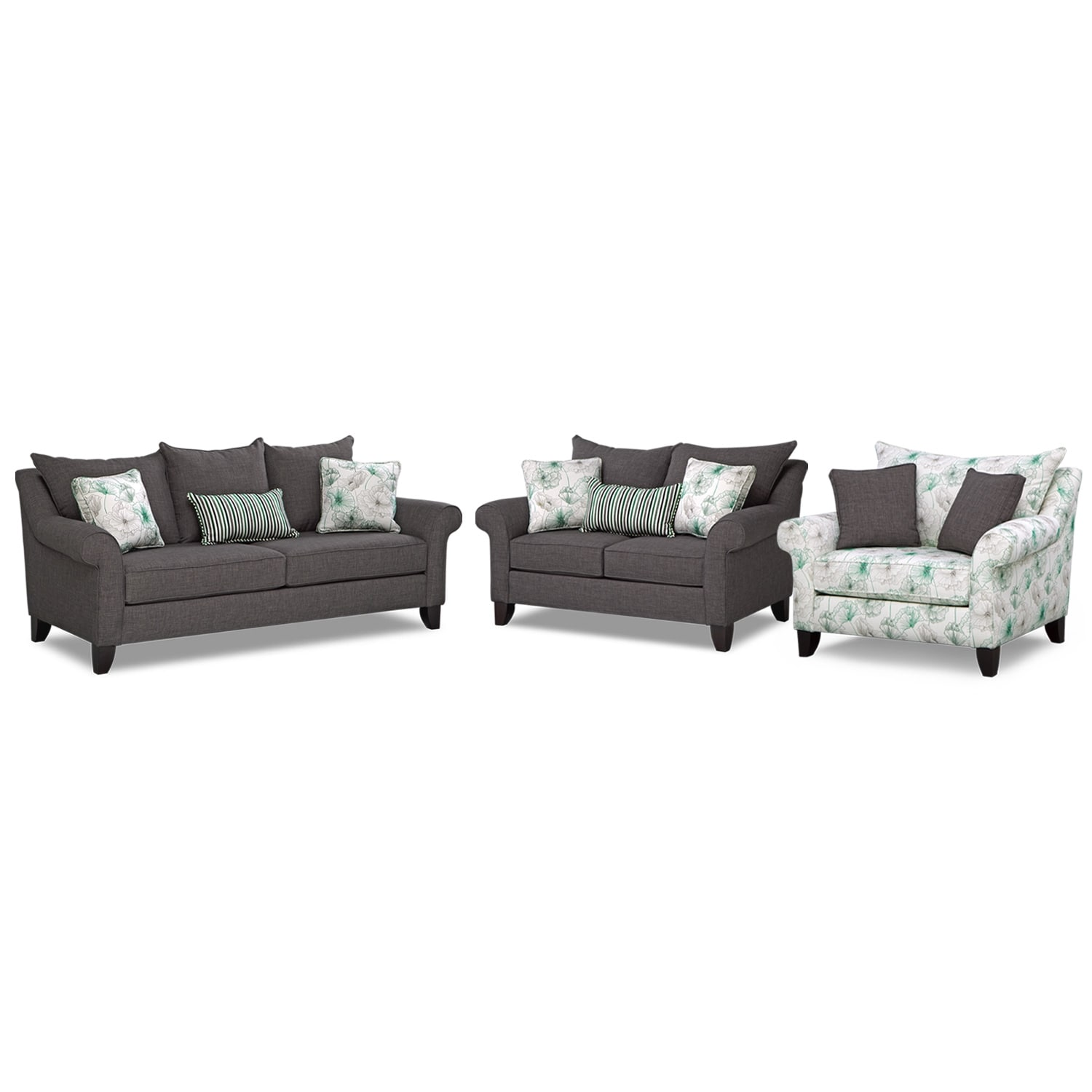 Living Room Furniture - Jasmine 3 Pc. Sleeper Living Room with Chair and a Half and Innerspring Mattress - Charcoal