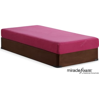Renew Pink Medium Firm Twin Mattress and Foundation Set - Pink