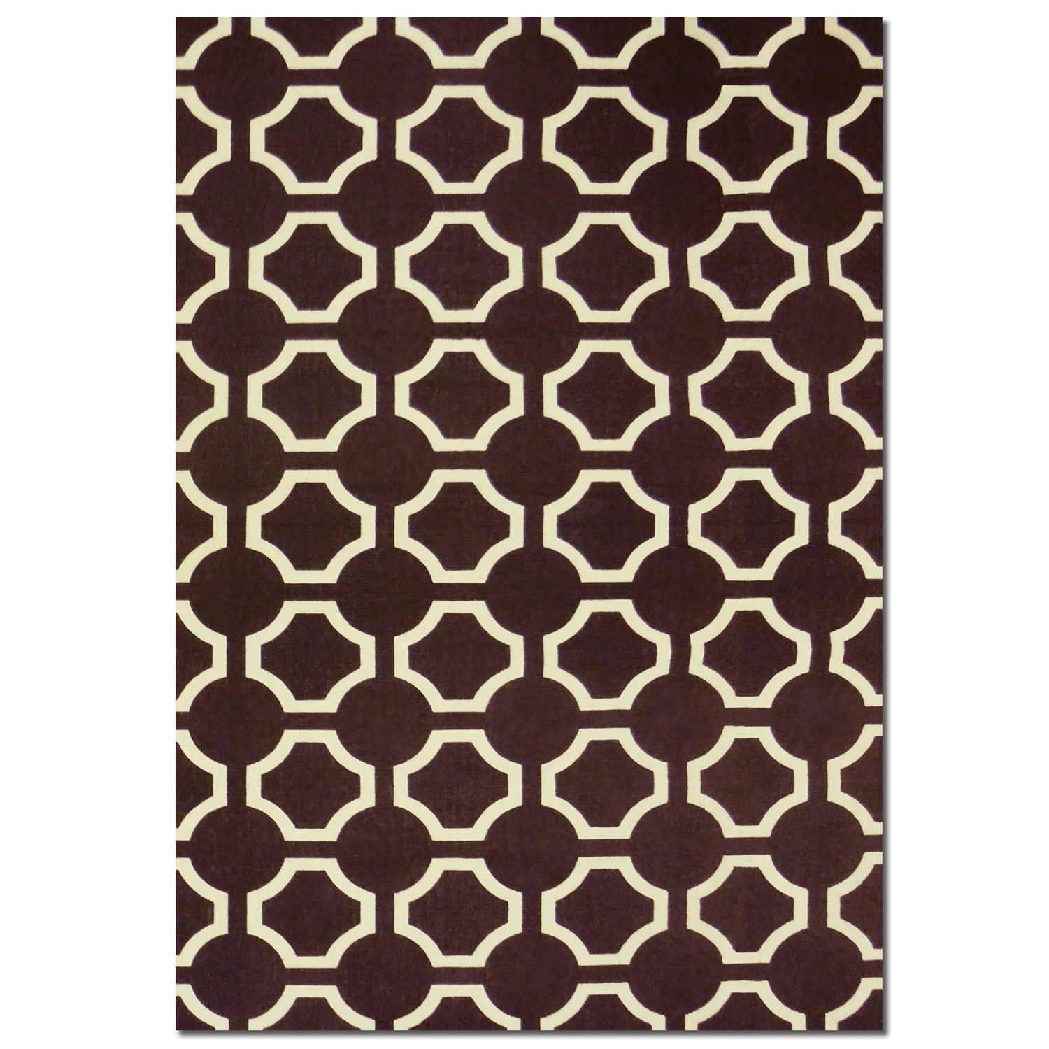 Salon Brown Semi-Circle Area Rug (5' x 8')