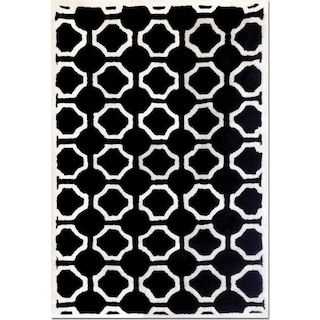 Lifestyle Semi-Circle 5' x 8' Area Rug - Black and White