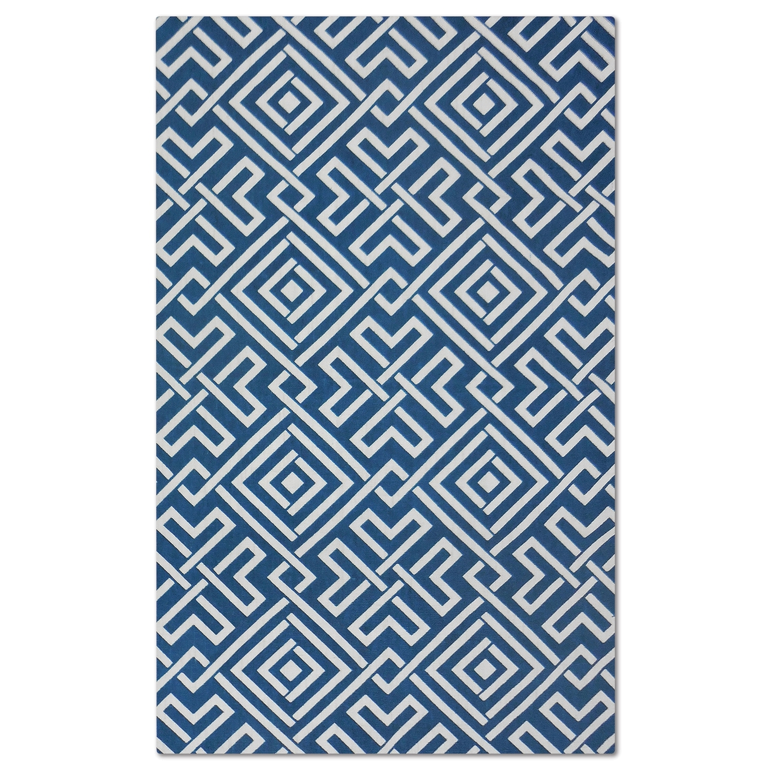 Salon Blue Zigzag Area Rug (5' x 8')