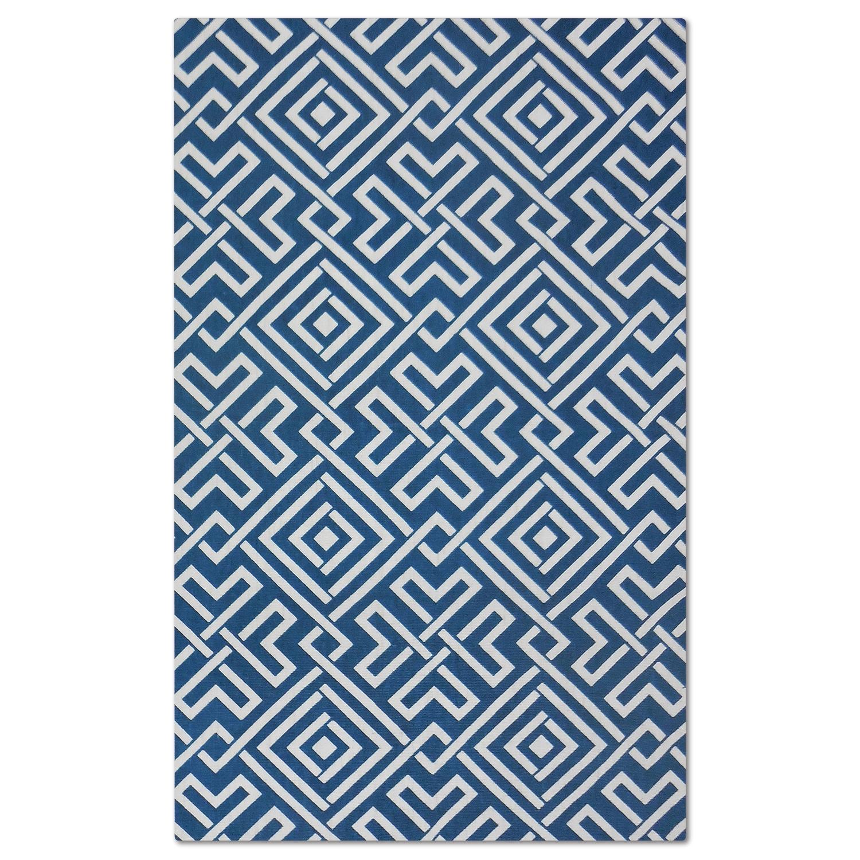 Rugs - Salon Blue Zigzag Area Rug (5' x 8')