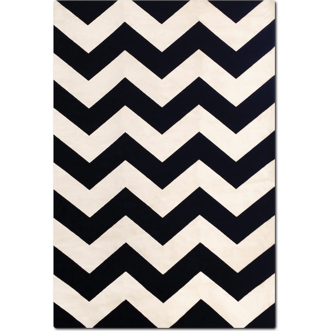 Rugs - Sonoma Chevron 5' x 8' Area Rug - Black and Crème