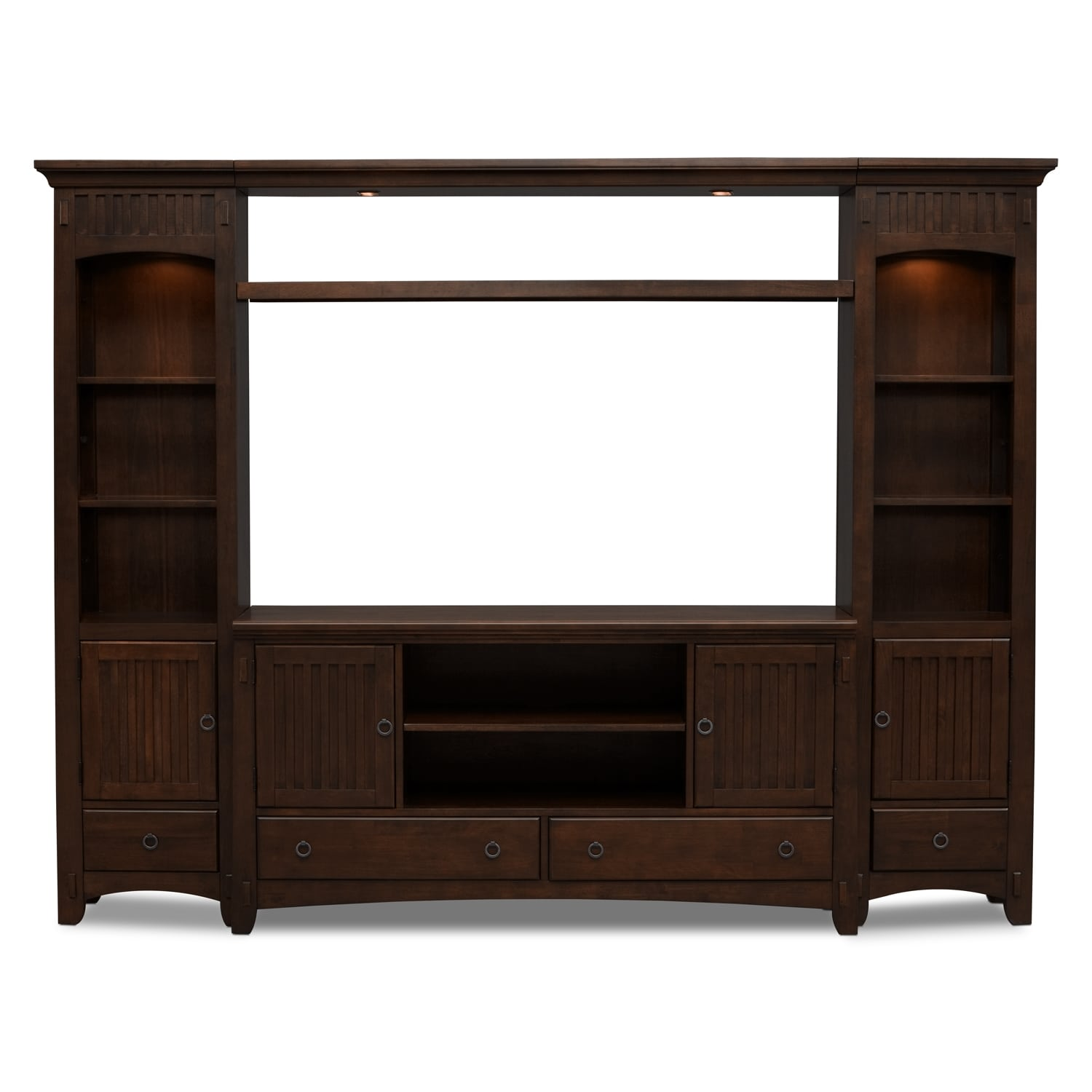 Arts crafts 4 piece entertainment wall unit chocolate for Signature furniture