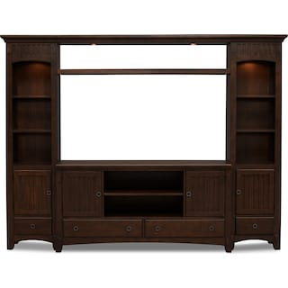 Arts & Crafts 4-Piece Entertainment Wall Unit - Chocolate