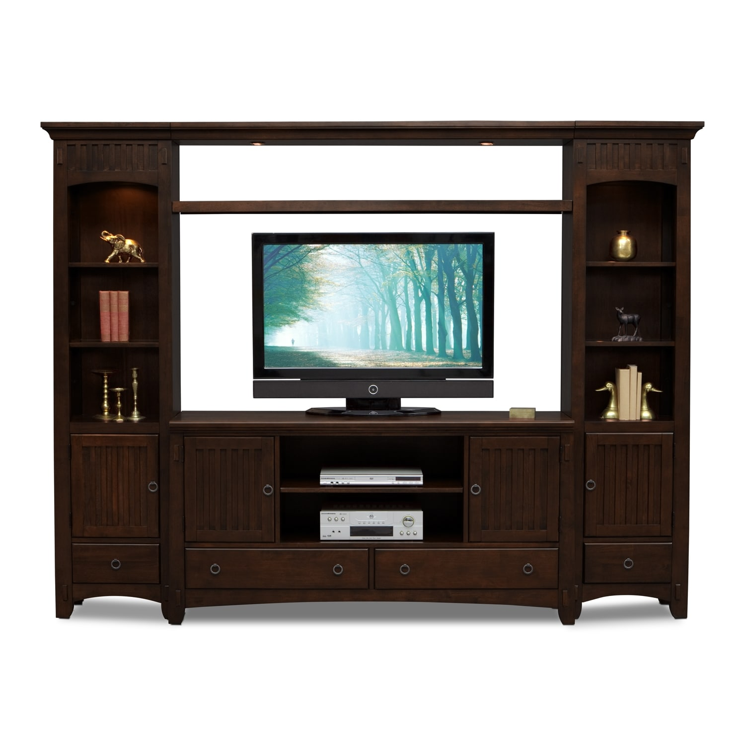 Arts crafts 4 piece entertainment wall unit chocolate for Tv furniture