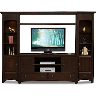 arts crafts 4 piece entertainment wall unit chocolate - Tv Entertainment Stands