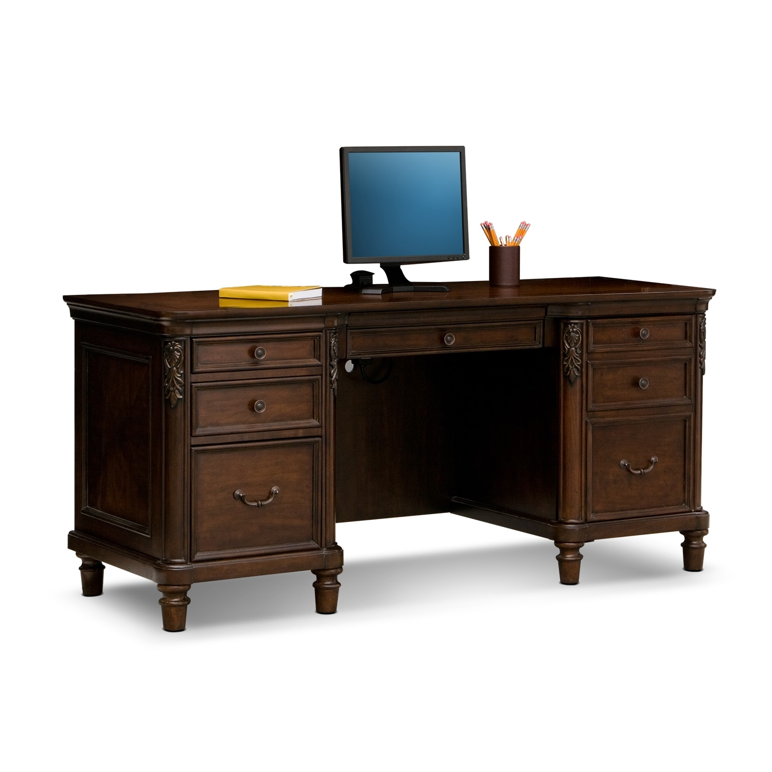 Merveilleux ... Home Office Furniture   Ashland Credenza Desk   Cherry