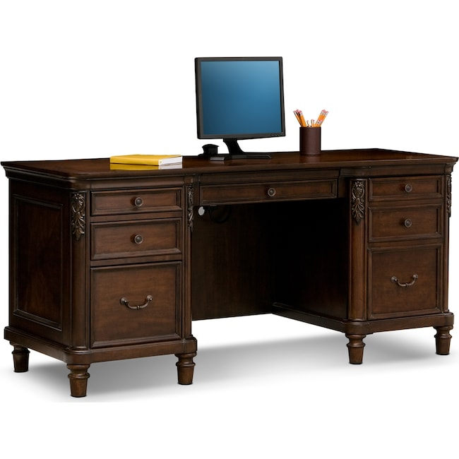 Home Office Furniture - Ashland Credenza Desk - Cherry