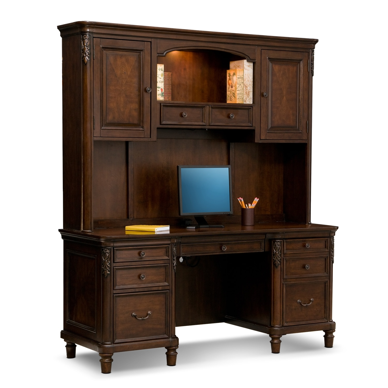 Home Office Furniture - Ashland Credenza Desk with Hutch - Cherry
