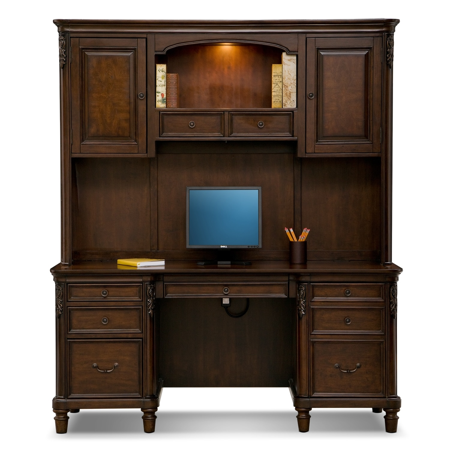 Ashland Credenza Desk With Hutch Cherry American Signature Furniture
