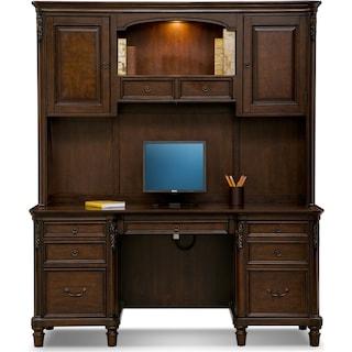 Ashland Credenza Desk with Hutch - Cherry