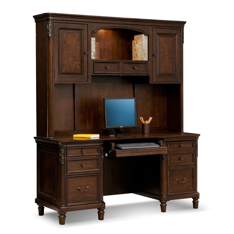ashland credenza desk with hutch cherry american signature furniture rh americansignaturefurniture com Hon Credenza with Hutch Small Credenza with Hutch