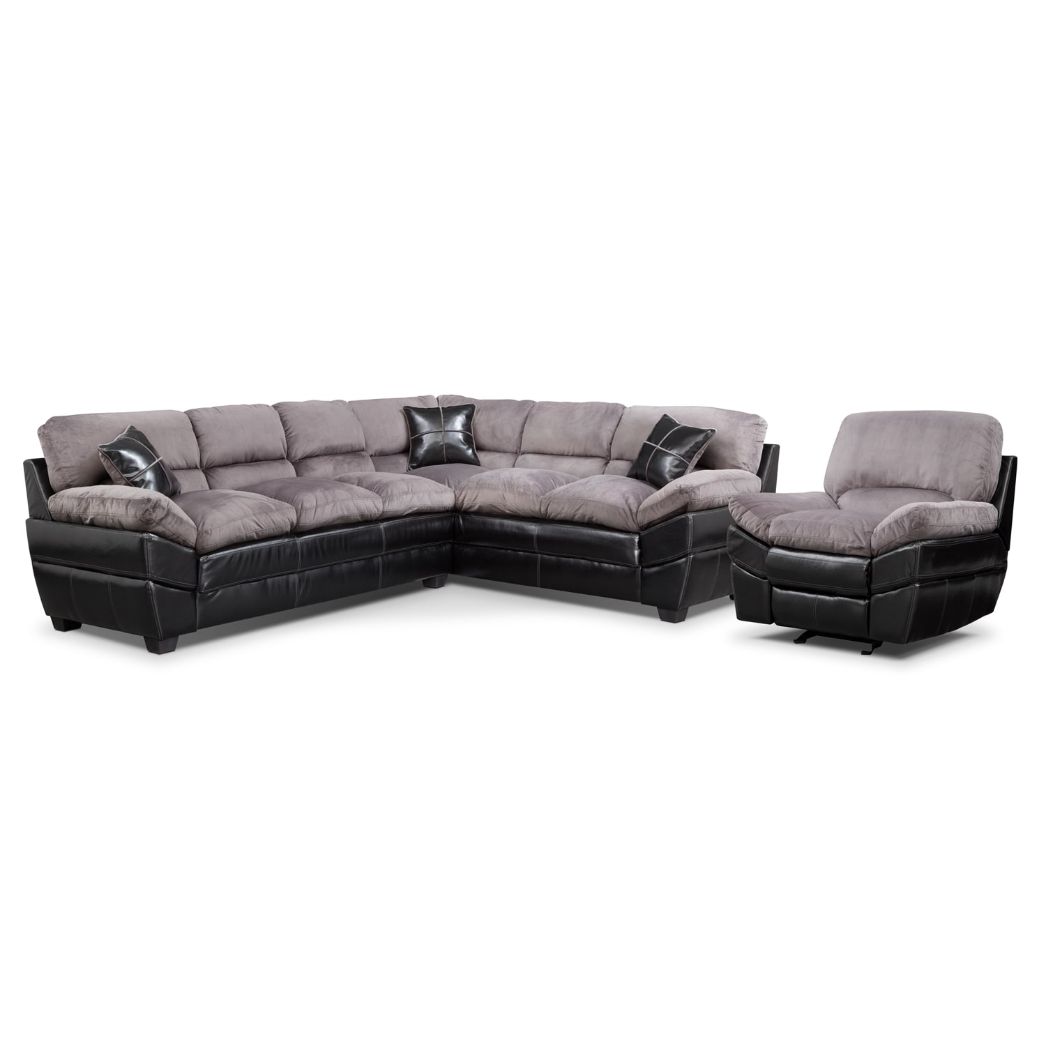 Living Room Furniture - Chandler Gray II 2 Pc. Sectional and Glider Recliner