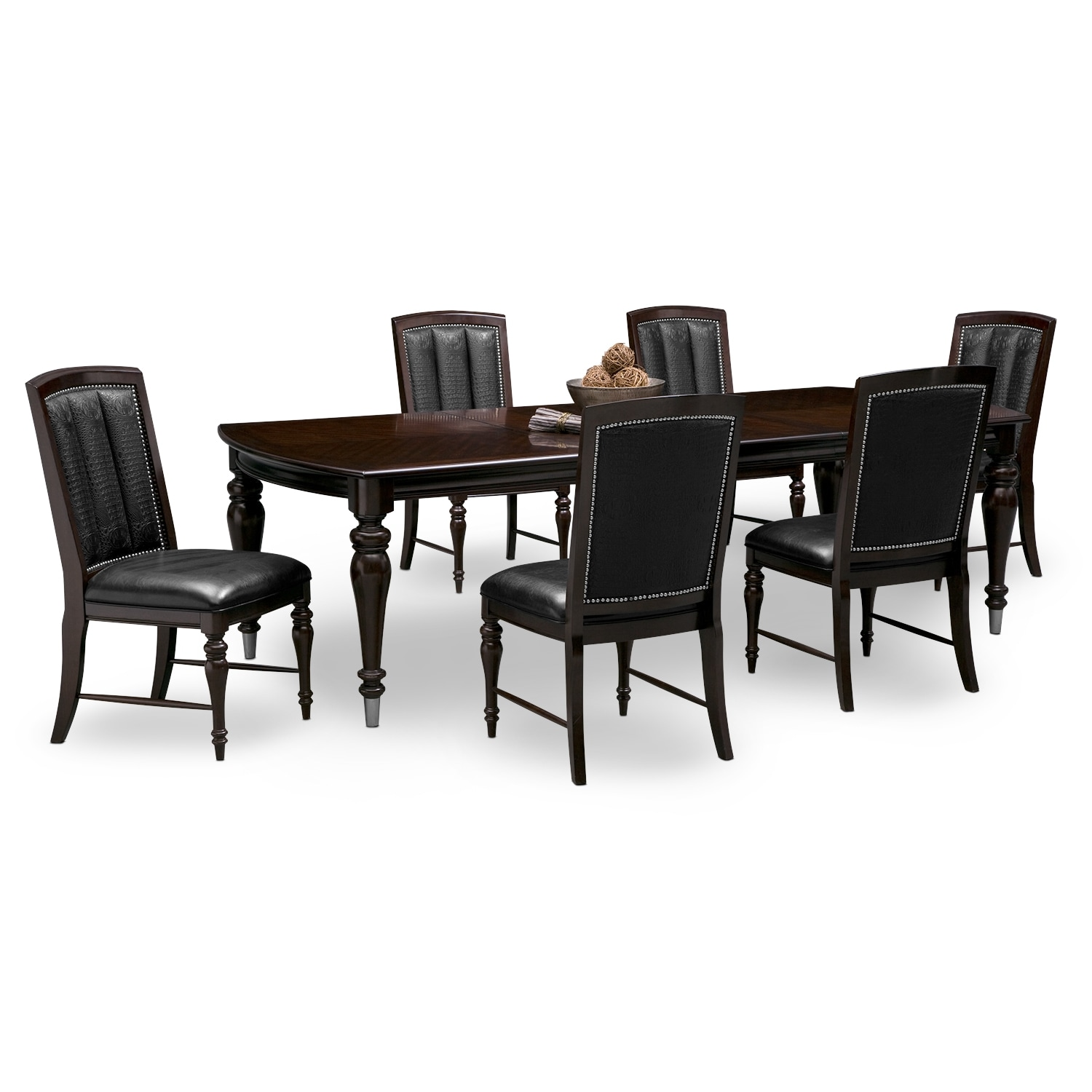 Esquire table and 6 chairs cherry american signature for Cherry dining table