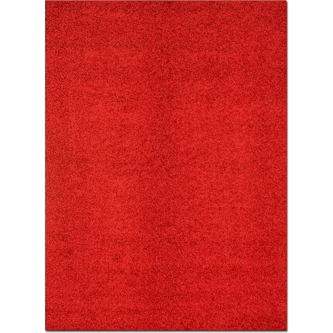 Rugs - Domino Shag Area Rug - Red
