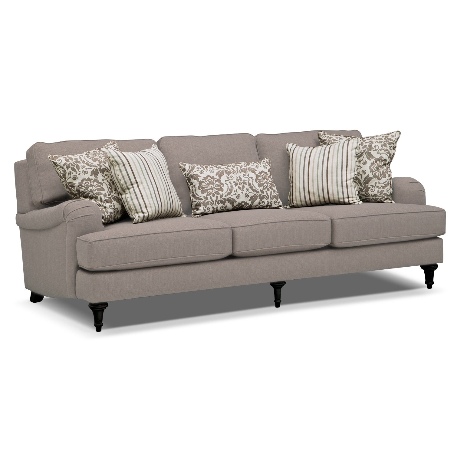 candice sofa gray american signature furniture. Black Bedroom Furniture Sets. Home Design Ideas