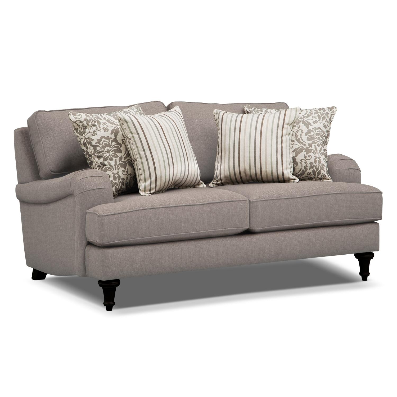 Living Room Furniture   Candice Loveseat   Gray