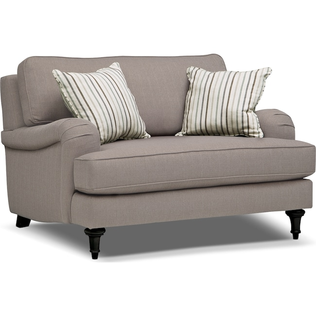 Living Room Furniture - Candice Chair and a Half - Gray