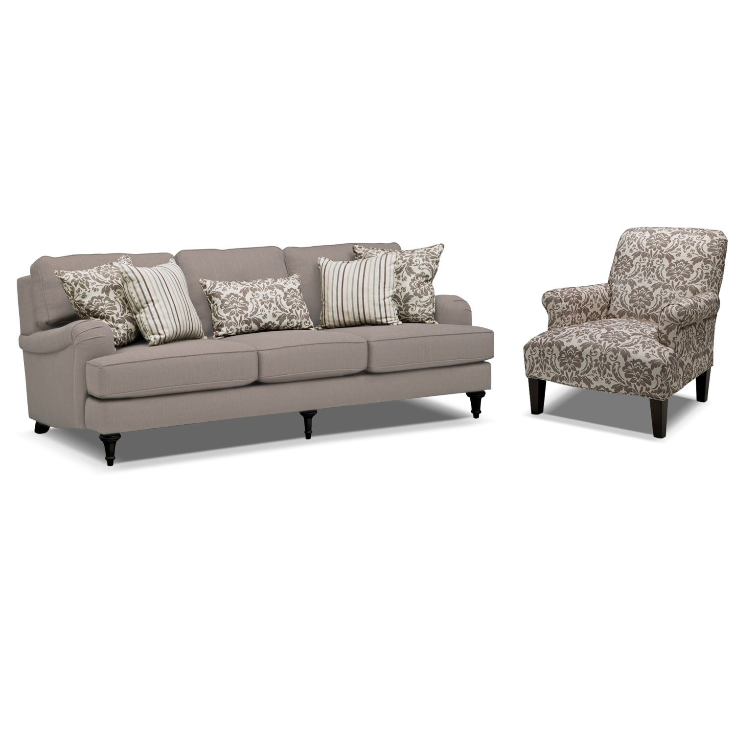 Candice Sofa and Accent Chair Set - Gray