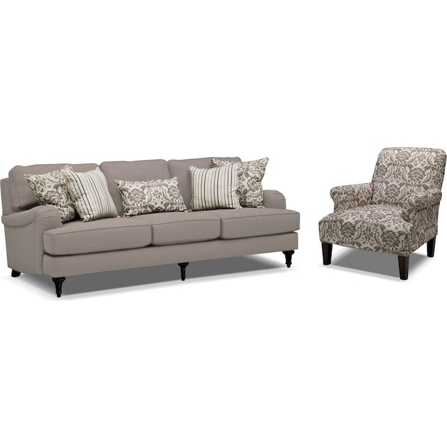 Living Room Furniture - Candice Sofa and Accent Chair Set - Gray