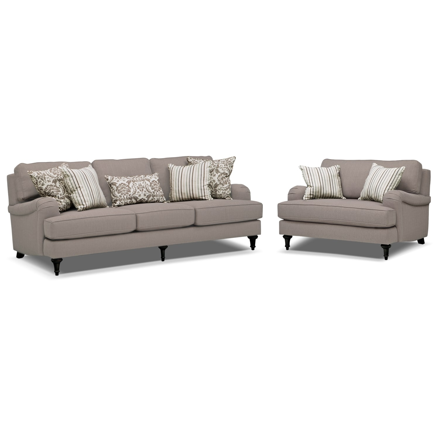 Candice sofa and chair and a half set gray american for Couch und sofa