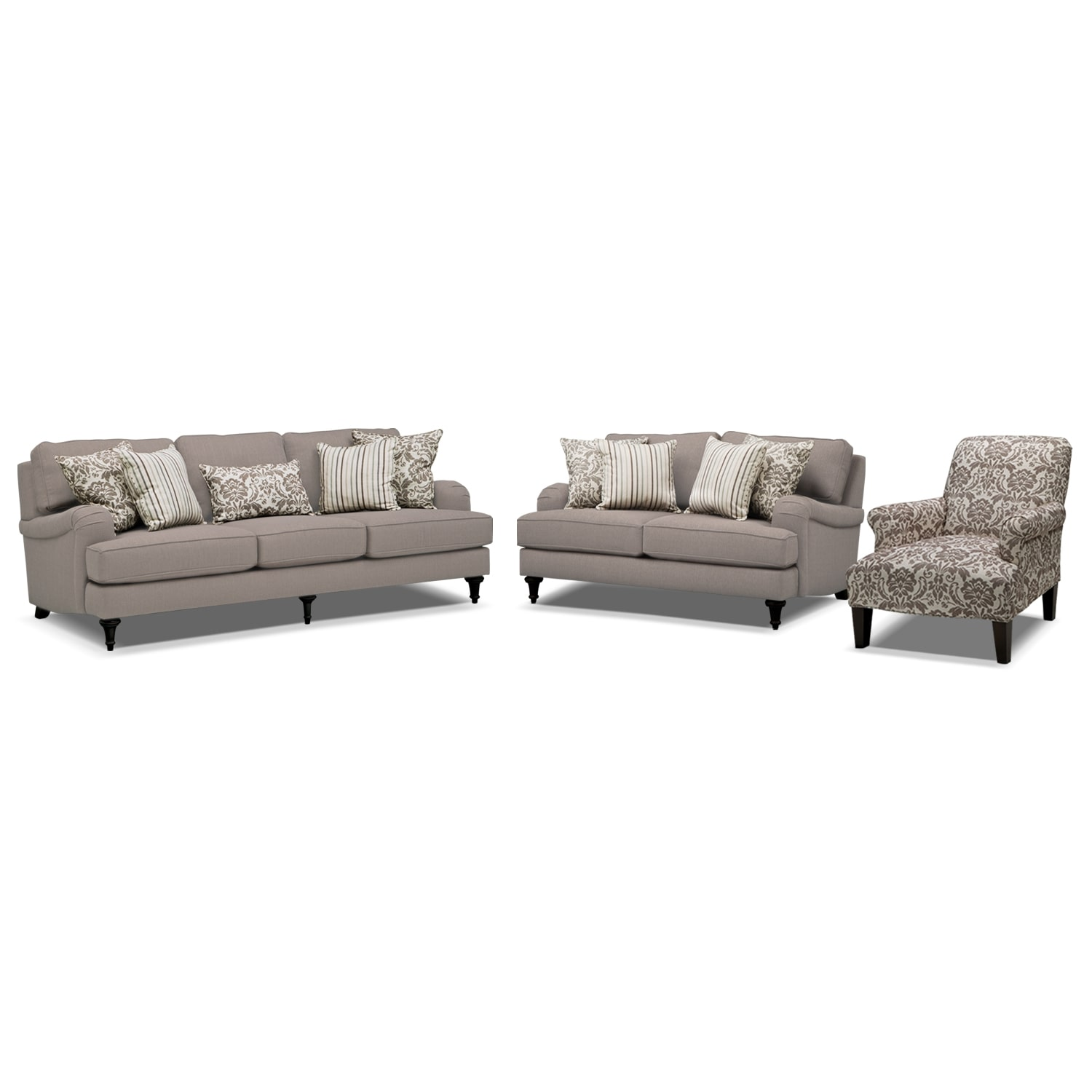 Living Room Furniture - Candice Sofa, Loveseat and Accent Chair - Gray