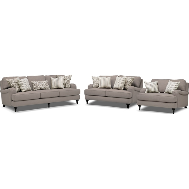 Living Room Furniture - Candice Sofa, Loveseat and Chair and a Half Set - Gray