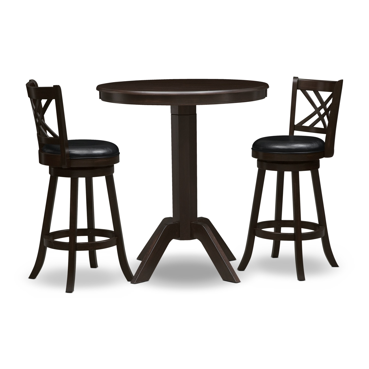 Dining Room Furniture - Concord Pub Table and 2 Merrimac Barstools - Merlot