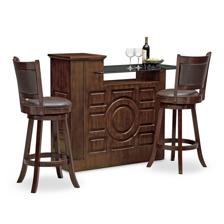 origins everly dining room 3 pc bar set american signature furniture. Black Bedroom Furniture Sets. Home Design Ideas