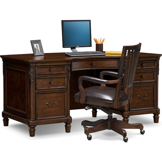 Home Office Furniture - Ashland Executive Desk and Chair Set - Cherry