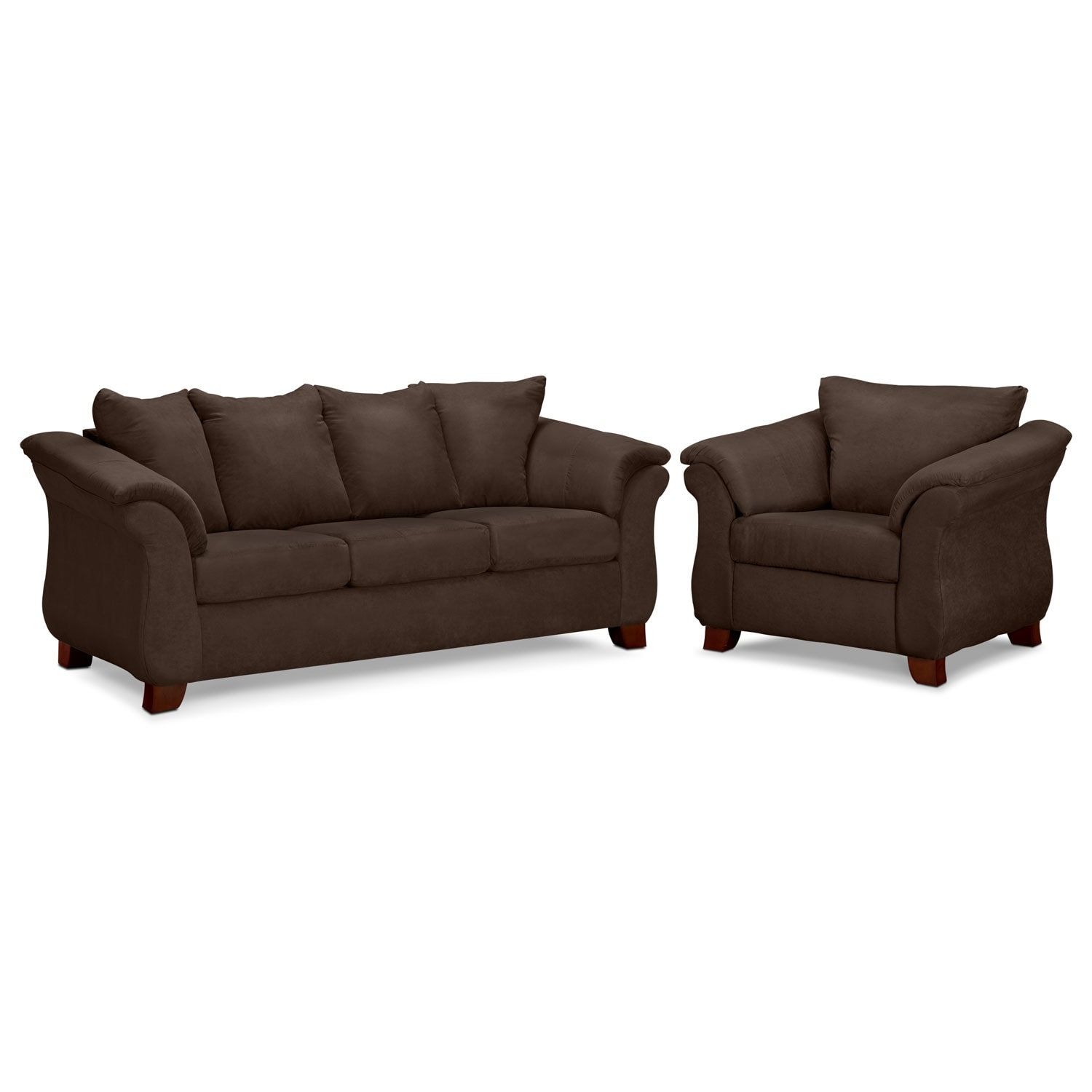 Adrian Sofa and Chair Set - Chocolate