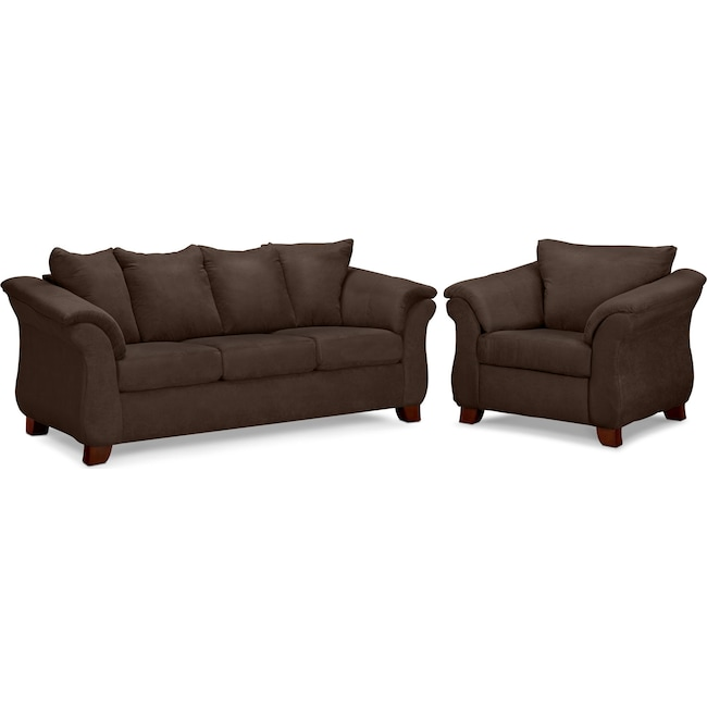 Living Room Furniture - Adrian Sofa and Chair Set - Chocolate