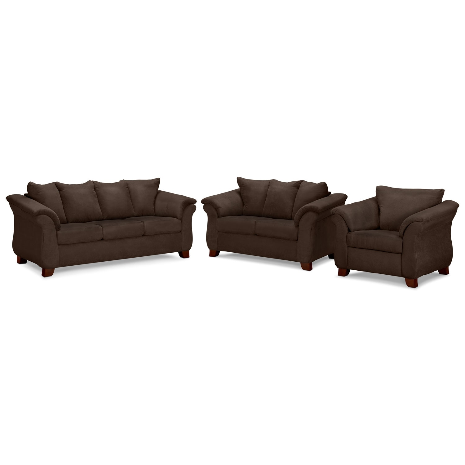 Living Room Furniture - Adrian Sofa, Loveseat and Chair Set - Chocolate