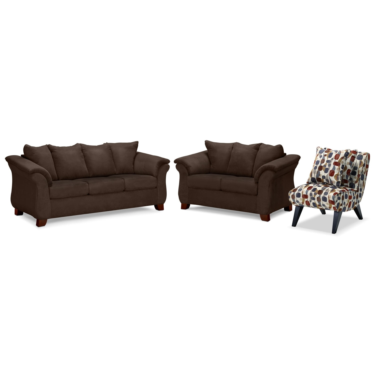 Living Room Furniture - Adrian Chocolate 3 Pc. Living Room w/ Accent Chair