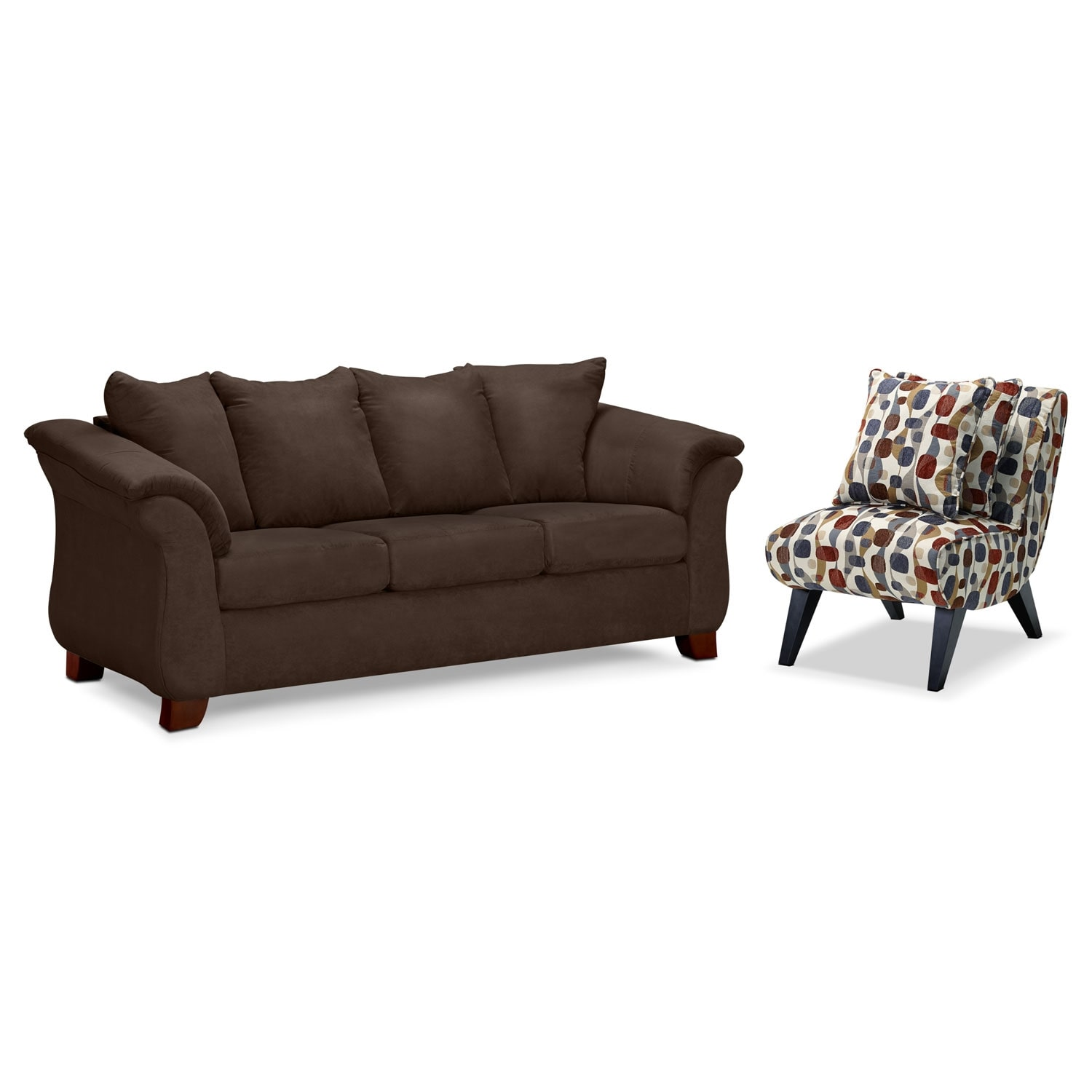Living Room Furniture - Adrian Chocolate 2 Pc. Living Room w/ Accent Chair