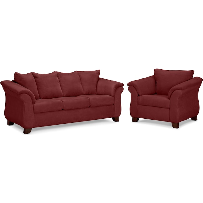 Living Room Furniture - Adrian Sofa and Chair Set - Red