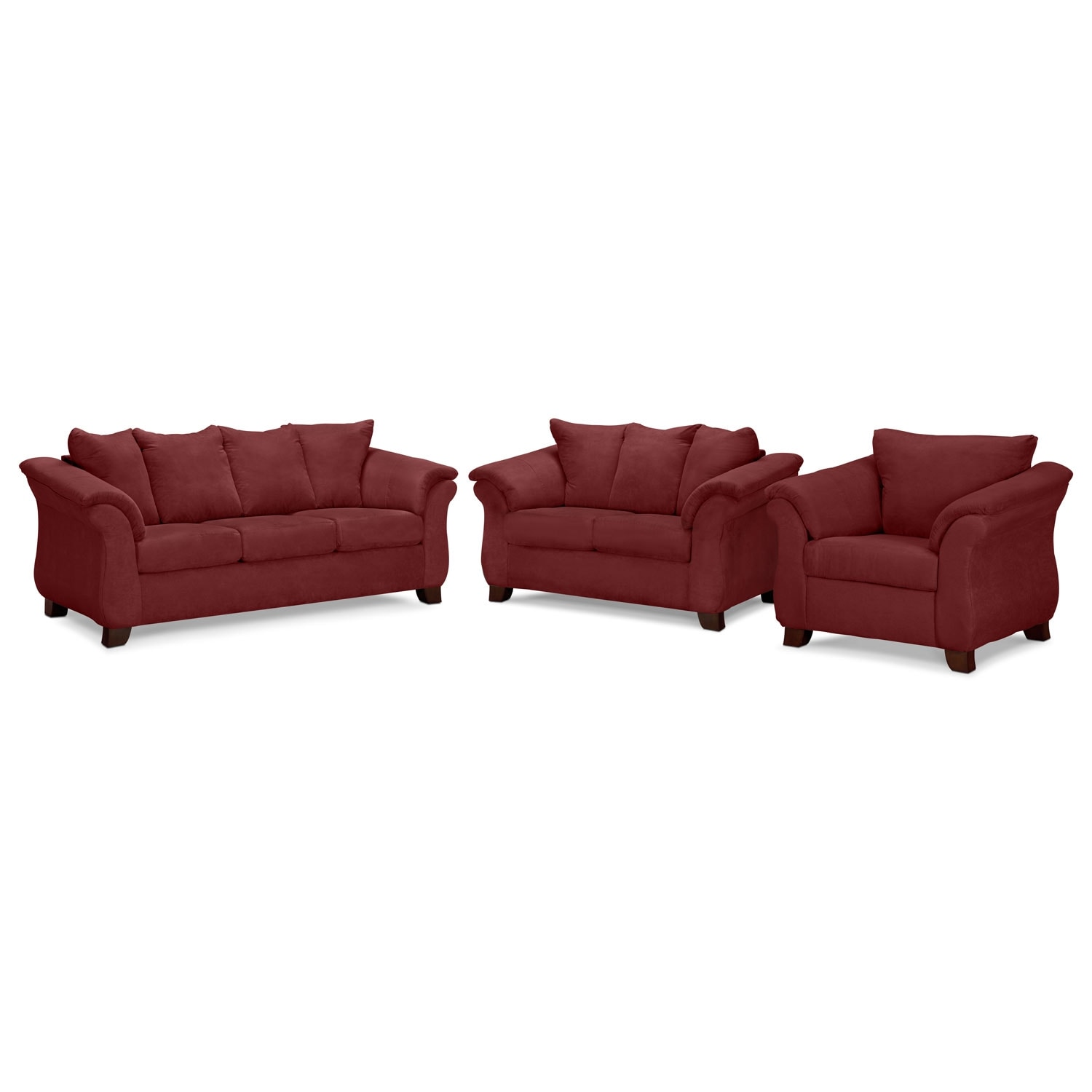 Living Room Furniture - Adrian Red 3 Pc. Living Room