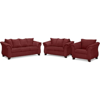 Adrian Sofa, Loveseat and Chair Set - Red