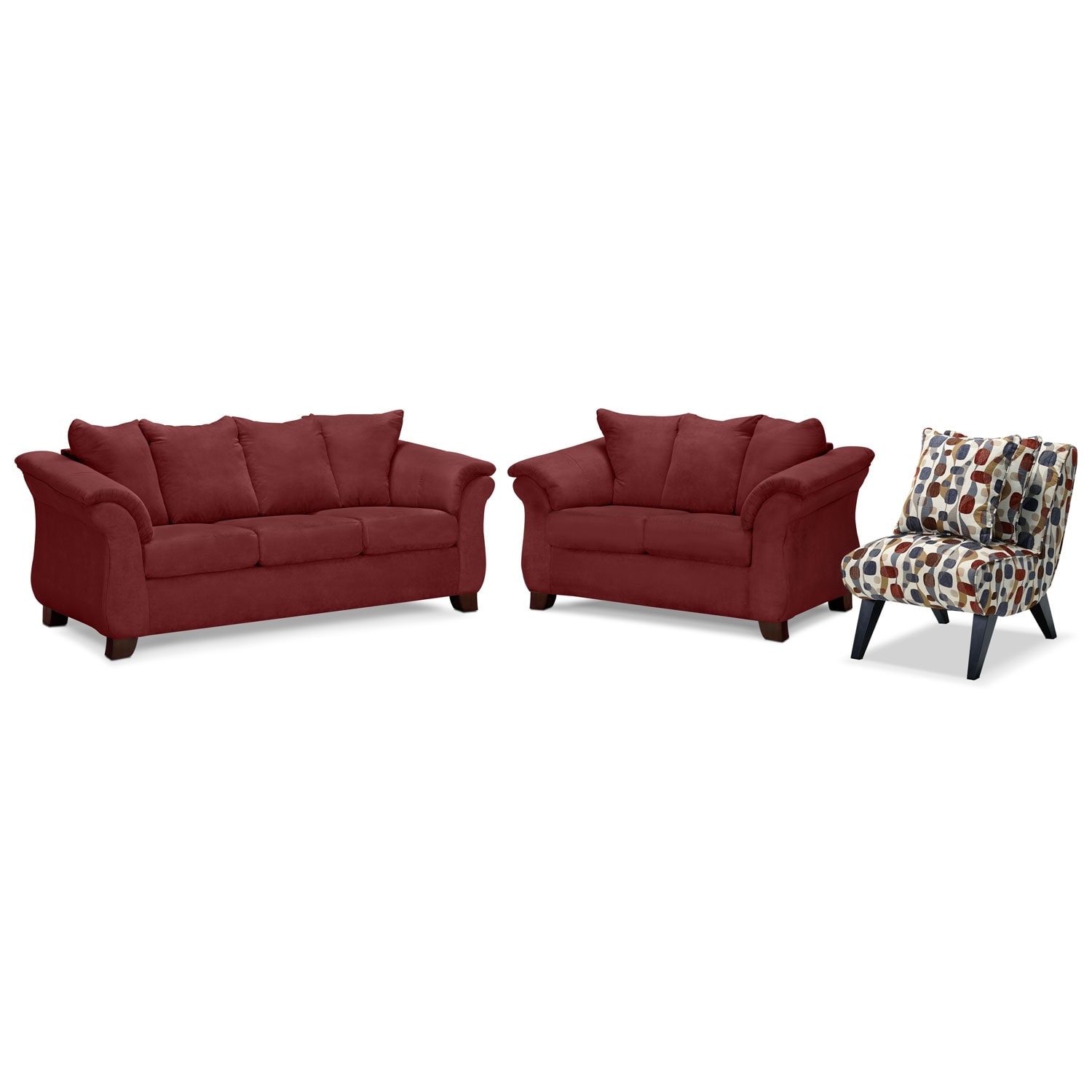 Living Room Furniture - Adrian Red 3 Pc. Living Room w/ Accent Chair